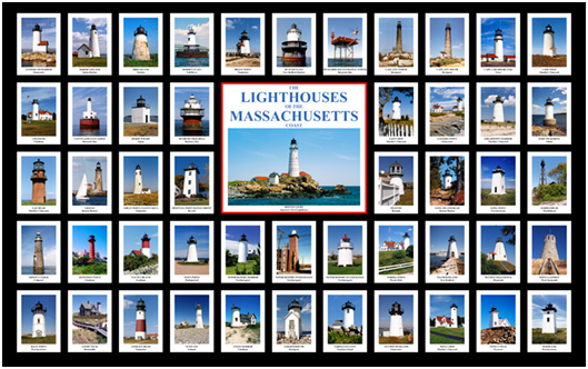 Lighthouses of Massachusetts Litho